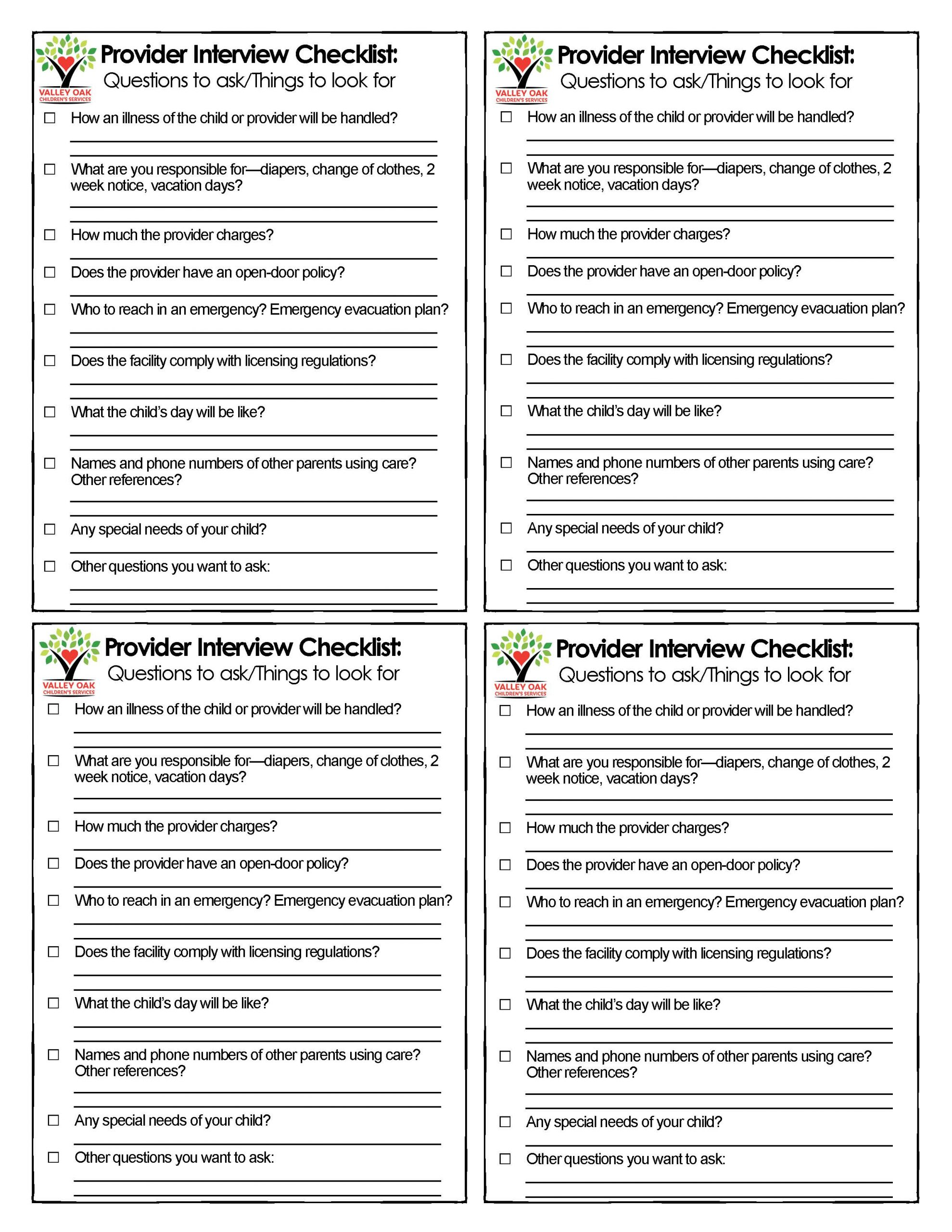 checklist for parents looking for a childcare provider